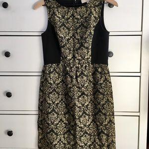 Holiday Gold Jacquard Sleeveless Dress